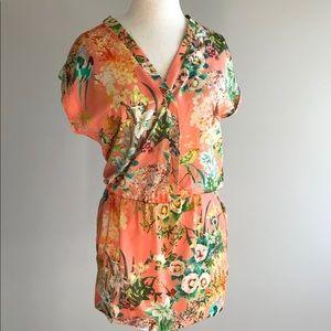 Zara Trafaluc orange oriental bird tropical dress